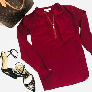 Michael Kors Blouse Gold Zip Ruby
